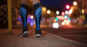 Compression socks in action at night